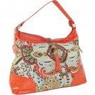 Designer Inspired Paisley Print Ladies Fringe Tassel Handbag Purse Orange Pink