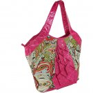 Designer Inspired Paisley Print Ladies Ruffle Tassel Handbag Fuchsia Pink Tan