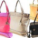 Ladies Designer Inspired Gold Studded Emblem Tassel Handbag Gray Black Pink Tan