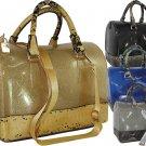 Ladies Designer Inspired Shiny Glitter Jelly Snake Skin Handbag Pewter Blue Blac