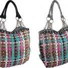 Rhinestone Multi. Color Stripe Snake Skin Chain Handle Handbag Purse Black White