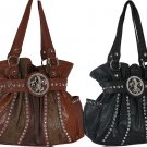 Rhinestone Patchwork Ladies Fleur-Di-Lis Croc. Ostrich Black Brown Handbag Purse