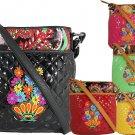Ladies Designer Inspired Floral Embroidered Messenger Bag Black Pink Green Red