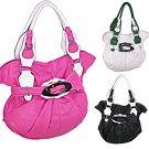 Designer Inspired Two Tone Leather Buckle Handbag Purse Bag Pink White Green