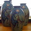 Kokopelli Blue Vase Set