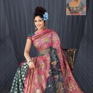 Grey & Pink color Shimmer & Net saree with BP.