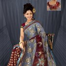 Maroon & Grey color Shimmer & net saree with BP.