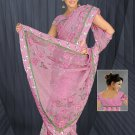 Violet color Net saree with BP.