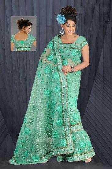 Sea Green color Net Saree with BP.