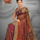 Mustard & brown color georgette & net saree with BP.