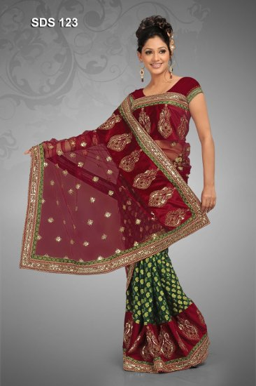 Maroon & green color net & saree with BP.