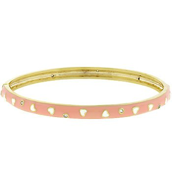 White Hearts & Cz Bangle Bracelet