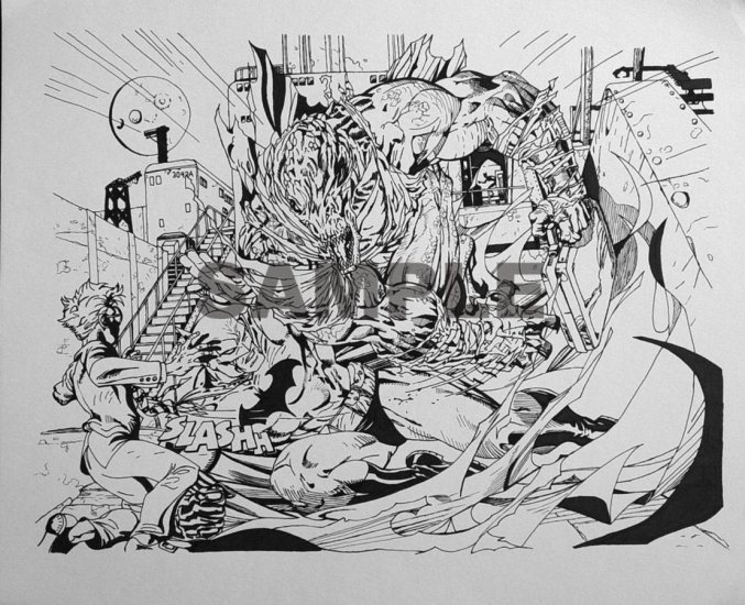 Original Artwork Comic Splashpage Large  (1-3 Characters Custom to your Specifications)