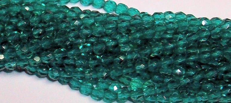 Blue Green Czech Firepolish 4mm