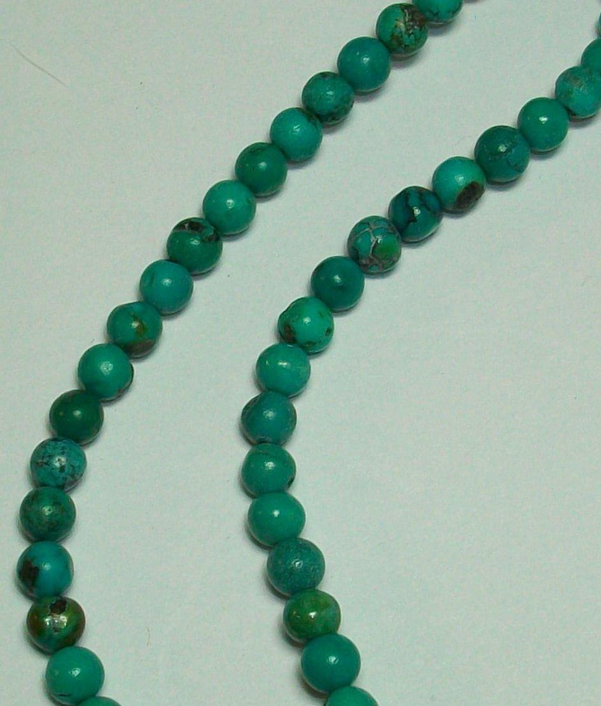 Chinese Turquoise 4mm Round Semi Precious