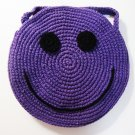 NEW! Handmade Crochet Colorful Smiley Sling Bag (Purple)