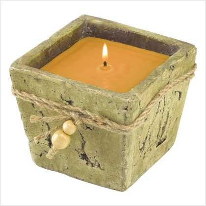 Stone-Finish Candle Pot