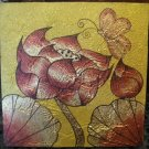 Lotus, Acrylic With Gold Foil Hand painted On Canvas - A30