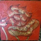 Red Lotus ,Acrylic and Gold Foil Hand painted Canvas A - 31