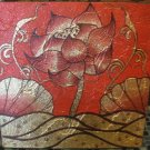 Lotus on Wave,Acrylic and Gold Foil Hand painted Canvas A - 33