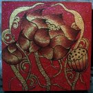 Lotus ,Acrylic and Gold Foil Hand painted Canvas A - 36