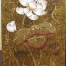 Lotus ,Acrylic With Gold Foil on Canvas Picture A - 21