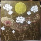 Lotus,Handpainted Acrylic With Gold Foil on Canvas A - 26