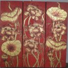Lotus,Handmade Acrylic With Gold Foil on Canvas Set Of 3Pcs - A03