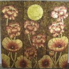 Lotus,Handmade Acrylic With Gold Foil on Canvas Set Of 3Pcs - A04