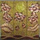 Lotus,Handmade Acrylic With Gold Foil on Canvas Set Of 3Pcs - A05
