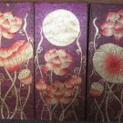Lotus,Hand Painted Acrylic With Gold Foil on Canvas Set Of 3Pcs - A06
