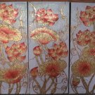 Lotus,Hand Painted Acrylic With Gold Foil on Canvas Set Of 3Pcs - A07