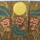Lotus,Hand Painted Acrylic With Gold Foil on Canvas Set Of 3Pcs - A09