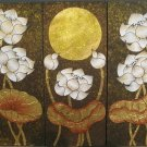 Lotus,Hand Painted Acrylic With Gold Foil on Canvas Set Of 3Pcs - A10