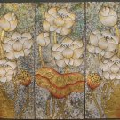 Lotus,Hand Painted Acrylic With Gold Foil on Canvas Set Of 3Pcs - A11