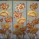 Lotus,Hand Painted Acrylic With Gold Foil on Canvas Set Of 3 - A12