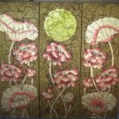Lotus,Hand Painted Acrylic With Gold Foil on Canvas Set Of 3 Pcs - A13