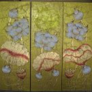 Lotus,Hand Painted Acrylic With Gold Foil on Canvas Set Of 3Pcs - A14