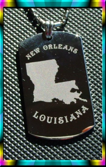 New Orleans Lousiana Dog tag and Chain