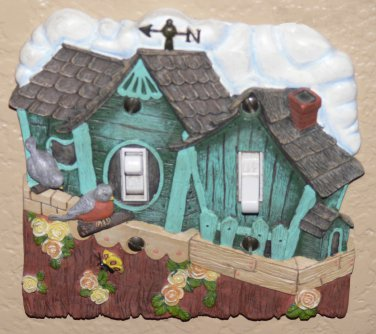 Decorative BIRDHOUSE w/ Robins & Roses Double Toggle SWITCH PLATE Cover