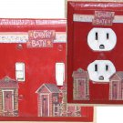 Red Country Bath Outhouse Decorative Double Toggle Switch/Wall Plate & Outlet Cover Set