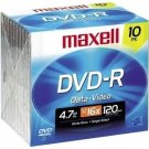 Maxell DVD-R 16X 4.7 GB 638004 Sealed (10/Pack)
