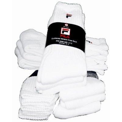 Men's FILA  Athletic White with Red/ Black F logo Crew Socks, 3 pair 11.5% OFF