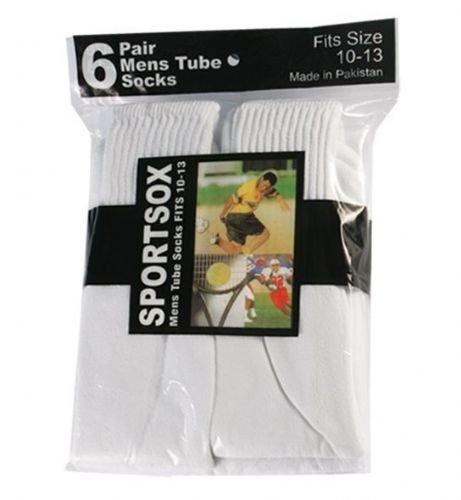 Mens White Sport Tube Sock 6 pairs