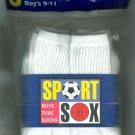 Boys Sport Sox  White Crew Socks 9-11 15% OFF