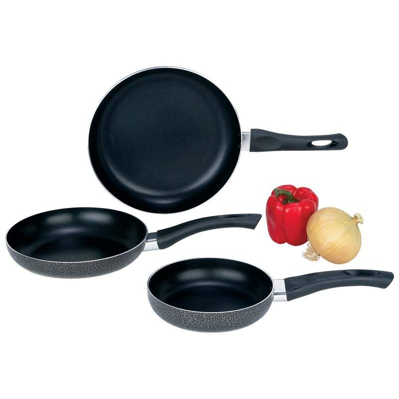 "Chef""s Secret 3pc Powder-Coated Finish Non-Stick Aluminum Frypan Set"
