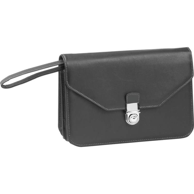 Embassy Expandable Faux Leather Clutch Purse with Wrist Strap