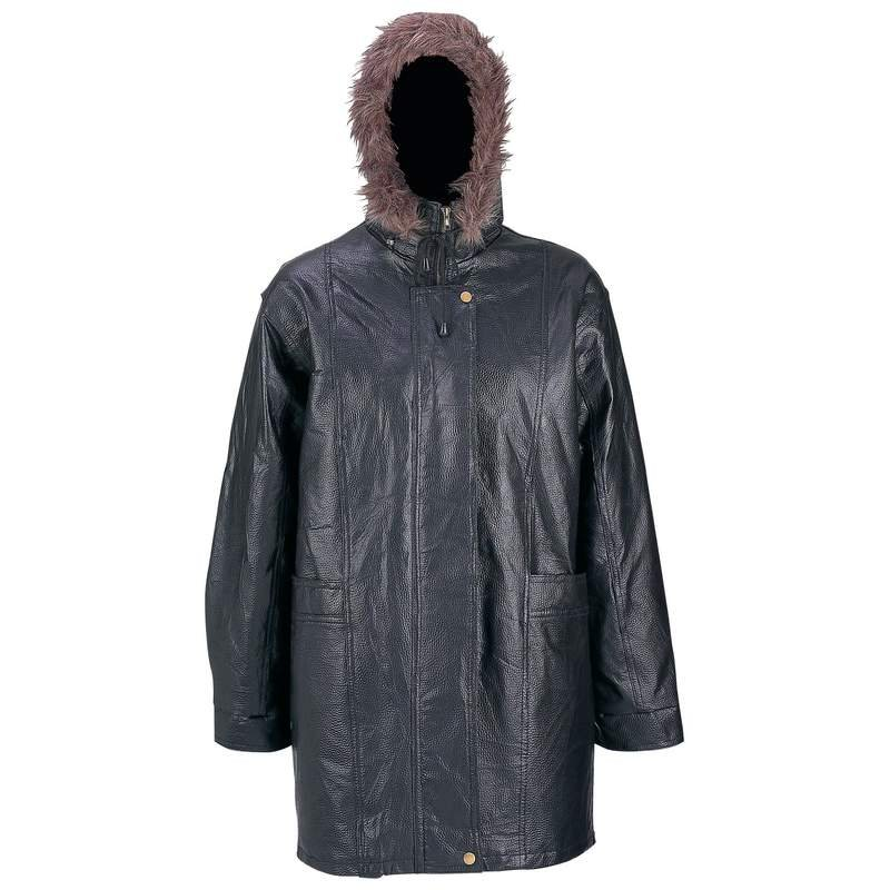 Giovanni Navarre Pebble Grain Leather Coat with Fur Hood- Size XLarge