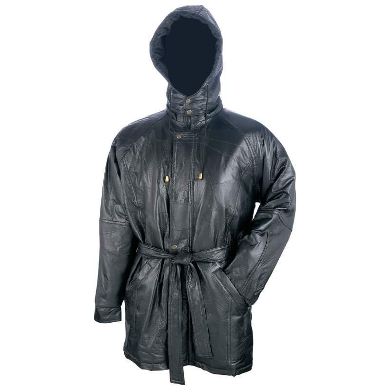 Giovanni Navarre Italian Stone Design Leather Heavy Coat - Size L