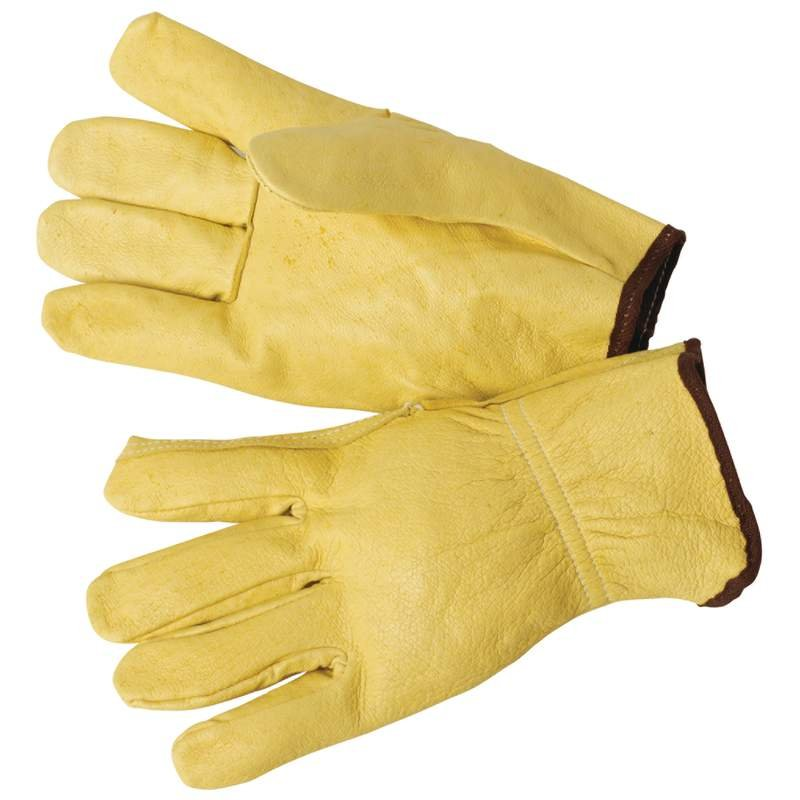 Maxam Solid Leather Work and Driving Gloves with Elastic Wrists
